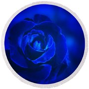 Rose In Blue Round Beach Towel by Sandy Keeton
