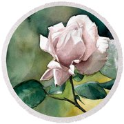 Watercolor Of A Lilac Rose  Round Beach Towel