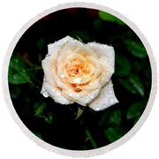 Round Beach Towel featuring the photograph Rose In The Rain by Deena Stoddard