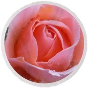 Round Beach Towel featuring the photograph Rose In The Rain by Lingfai Leung