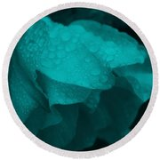 Rose In Turquoise Round Beach Towel