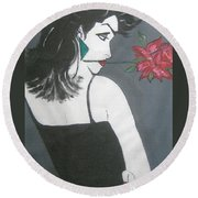 Round Beach Towel featuring the painting Rose Lady by Nora Shepley