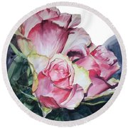 Watercolor Of A Bouquet Of Pink Roses I Call Rose Michelangelo Round Beach Towel