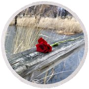 Round Beach Towel featuring the photograph Rose On A Bridge by Verana Stark