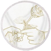 Rose Outline By Jan Marvin Studios Round Beach Towel