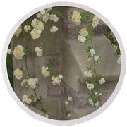Round Beach Towel featuring the photograph Rose Sprawling On Stone by Tom Wurl