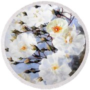Wartercolor Of White Roses On A Branch I Call Rose Tchaikovsky Round Beach Towel