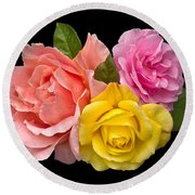 Rose Trilogy Round Beach Towel by Jane McIlroy