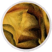 Round Beach Towel featuring the photograph Rose Yellow Fresco by Jean OKeeffe Macro Abundance Art
