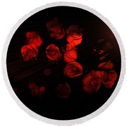 Roses And Black Round Beach Towel