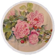 Round Beach Towel featuring the painting Roses And More Roses by Beatrice Cloake