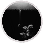 Round Beach Towel featuring the photograph Roses By Lamplight Bw by Ron White