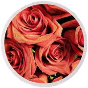 Roses For Your Wall  Round Beach Towel by Joseph Baril