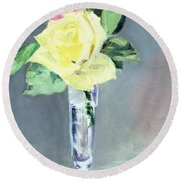 Roses In A Champagne Glass Round Beach Towel