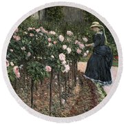 Roses In The Garden At Petit Gennevilliers Round Beach Towel