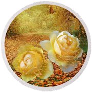 Round Beach Towel featuring the photograph Roses In The Woods In Autumn by Annie Zeno