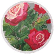 Round Beach Towel featuring the painting Roses N' Rain by Sharon Duguay