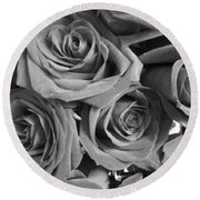 Round Beach Towel featuring the photograph Roses On Your Wall Black And White  by Joseph Baril