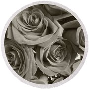 Round Beach Towel featuring the photograph Roses On Your Wall Sepia by Joseph Baril