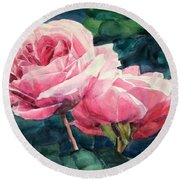 Watercolor Of Two Luscious Pink Roses Round Beach Towel