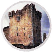 Round Beach Towel featuring the photograph Ross Castle Kilarney Ireland by Angela Davies