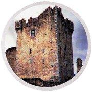 Ross Castle Kilarney Ireland Round Beach Towel by Angela Davies