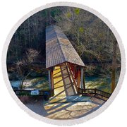 Roswell Covered Bridge Round Beach Towel
