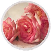 Rosy Elegance Digital Watercolor Round Beach Towel by Sandra Foster
