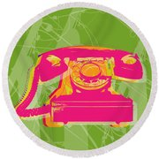Rotary Phone Round Beach Towel