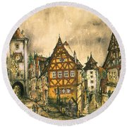 Rothenburg Bavaria Germany - Romantic Watercolor Round Beach Towel