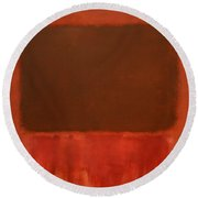Rothko's Mulberry And Brown Round Beach Towel by Cora Wandel