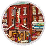 Rotisserie Le Chalet Bar B Q Sherbrooke West Montreal Winter City Scene Round Beach Towel