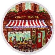 Rotisserie Le Chalet Bbq Restaurant Paintings Storefronts Street Scenes Diners Montreal Art Cspandau Round Beach Towel
