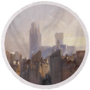 Rouen Cathedral Sunrise Round Beach Towel