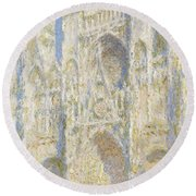 Rouen Cathedral West Facade Round Beach Towel by Claude Monet