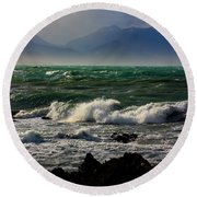 Round Beach Towel featuring the photograph Rough Seas Kaikoura New Zealand by Amanda Stadther