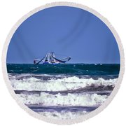 Round Beach Towel featuring the photograph Rough Seas Shrimping by DigiArt Diaries by Vicky B Fuller