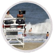 Rough Water At Bethany Beach In Delaware  Round Beach Towel