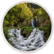 Round Beach Towel featuring the photograph Roughlock Falls South Dakota by Patti Deters