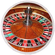 Roulette Wheel And Chips Round Beach Towel