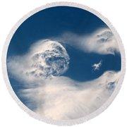 Round Clouds Round Beach Towel by Leone Lund