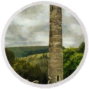 Round Beach Towel featuring the painting Round Tower At Glendalough by Jeff Kolker