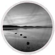 Round Valley At Dawn Bw Round Beach Towel by Michael Ver Sprill