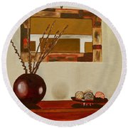 Round Beach Towel featuring the painting Round Vase by Laura Forde