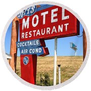 Route 66 - Art's Motel Round Beach Towel