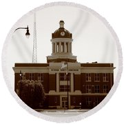 Route 66 - Beckham County Courthouse Round Beach Towel