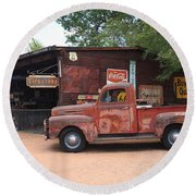 Route 66 Garage And Pickup Round Beach Towel