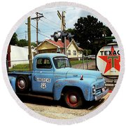 Route 66 - Gas Station With Watercolor Effect Round Beach Towel