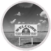 Route 66 - Midpoint Sign Round Beach Towel by Frank Romeo