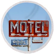 Route 66 Motel Sign Round Beach Towel